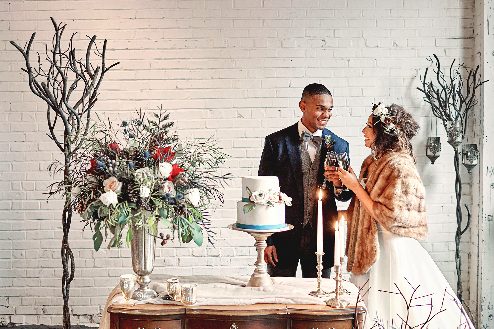 The Brickyard Vintage Winter Wedding Styled Shoot