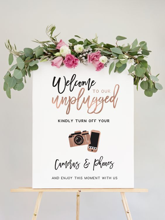 Miss Design Berry Un-Plugged Wedding Sign