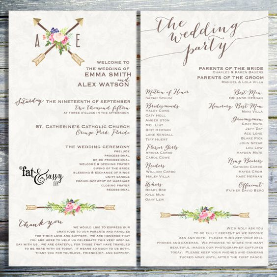 Un-Plugged Wedding Programs
