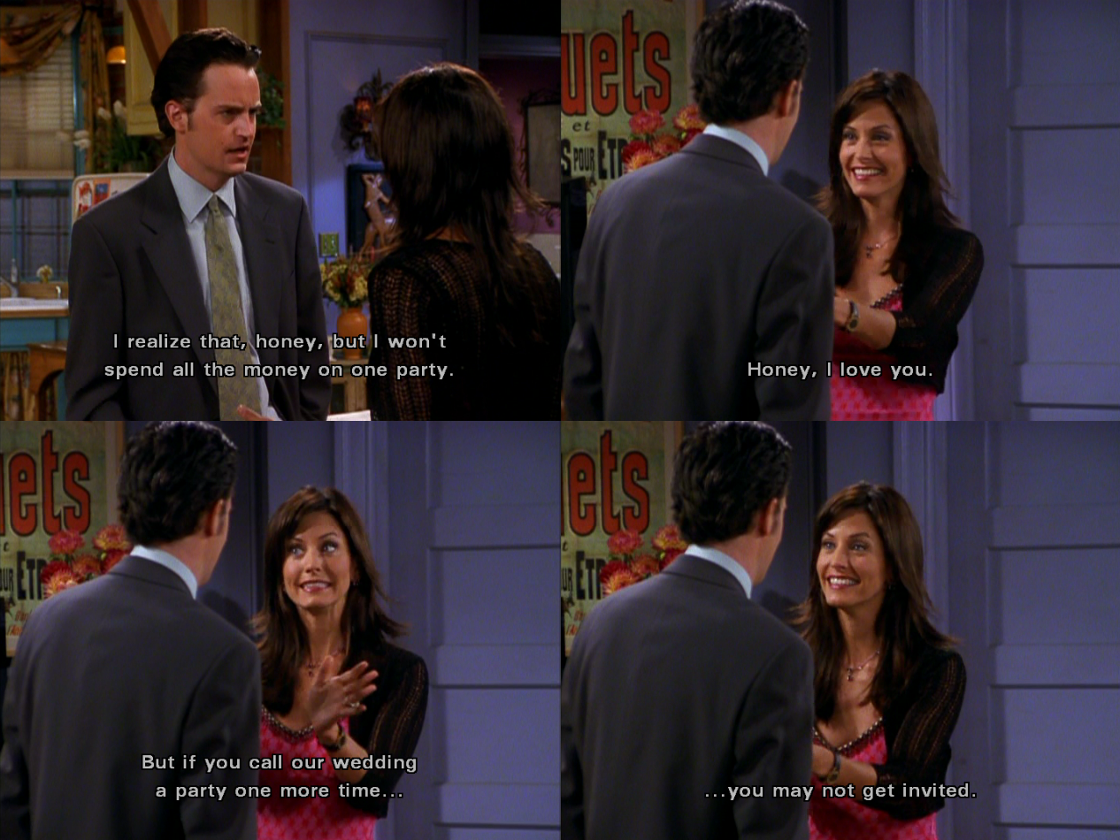 Monica and Chandler Wedding Planning Meme