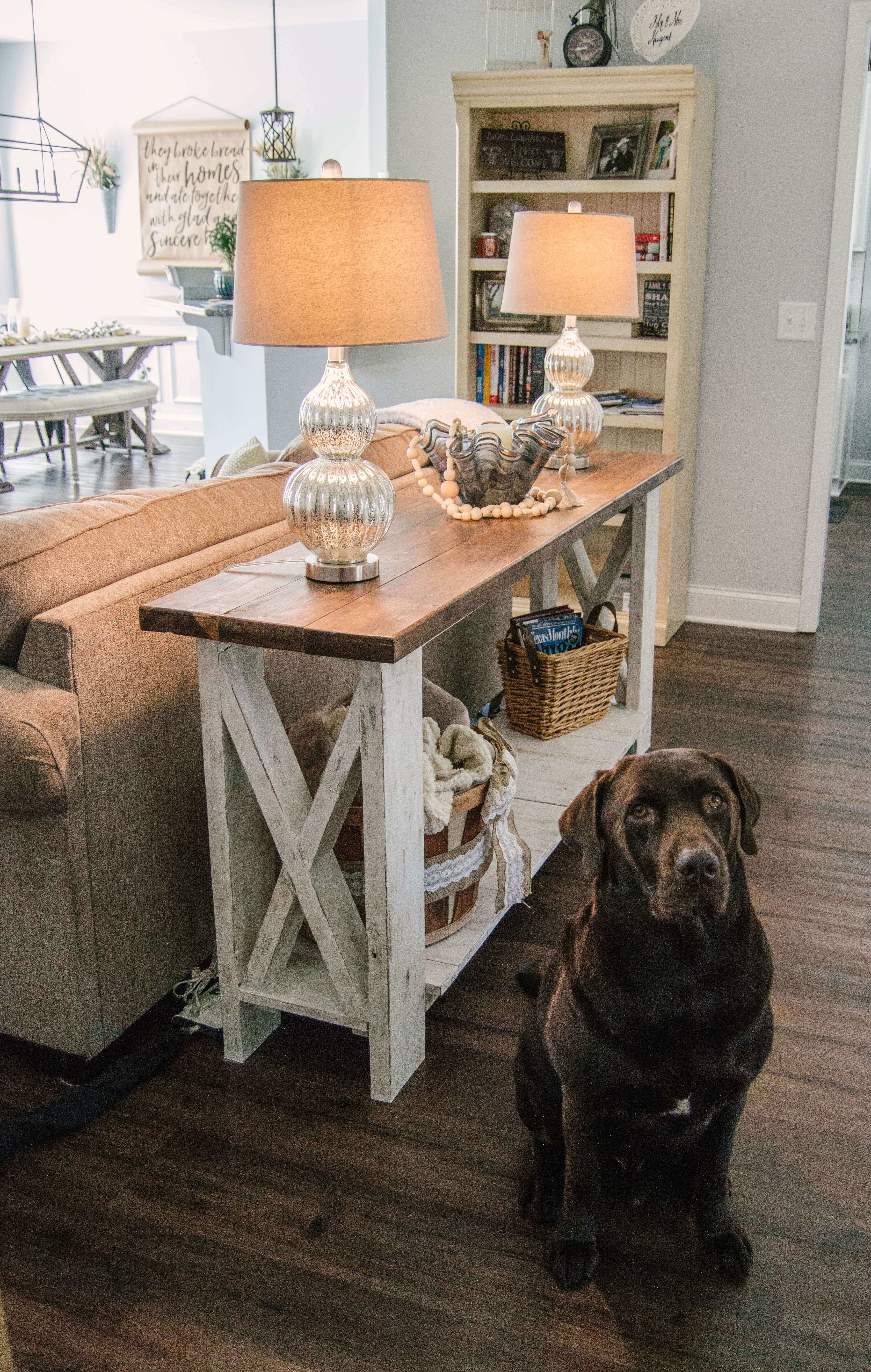 Handcrafted Farmhouse Sofa Table (Plus My Tip on How-To Hide Cords!)