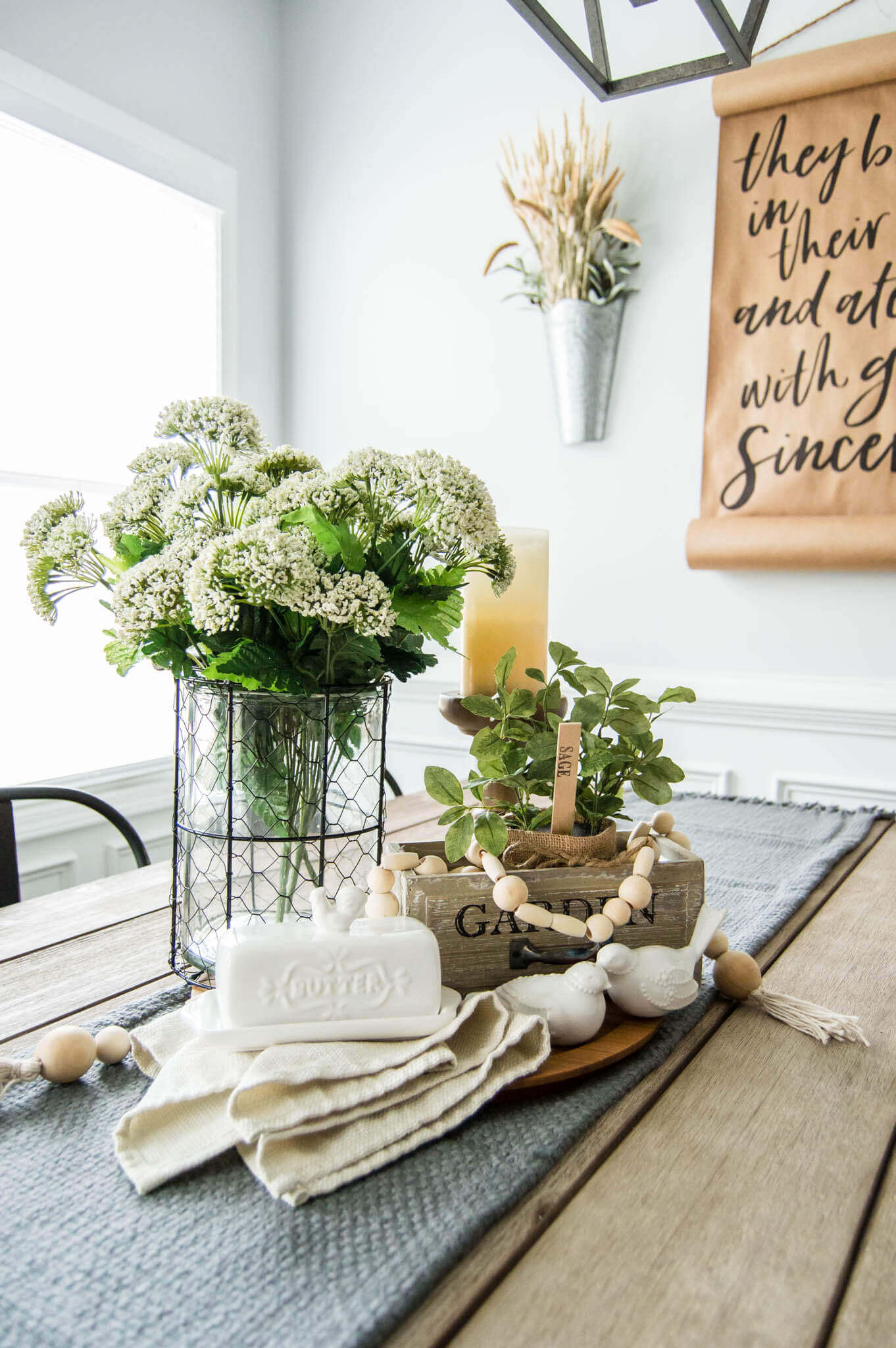 Springtime Farmhouse Table Centerpiece A Hosting Home