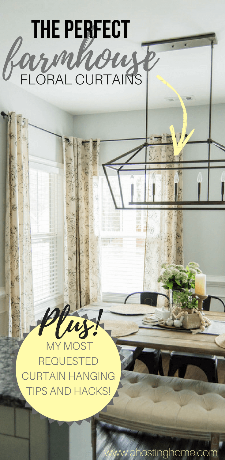 The Perfect Farmhouse Floral Curtains + My Curtain Hanging Hacks