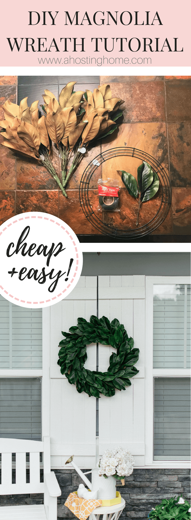 DIY Magnolia Wreath Tutorial // A Hosting Home, Atlanta Lifestyle and Home Blogger Cathy Nugent, Front Porch Make-over