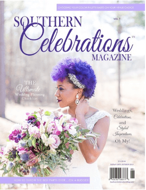 Southern Celebrations Magazine Featuring A Hosting Home and Cathy Nugent Weddings