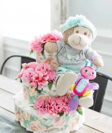 Pink Floral Diaper Cake // How-to Make a Diaper Cake // Easy Diaper Cake Tutorial
