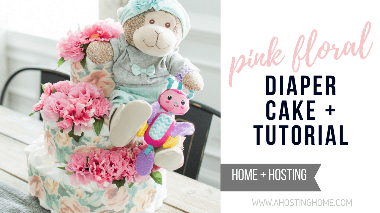 Pink Floral Diaper Cake // How-to Make a Diaper Cake // Easy Diaper Cake Tutorial