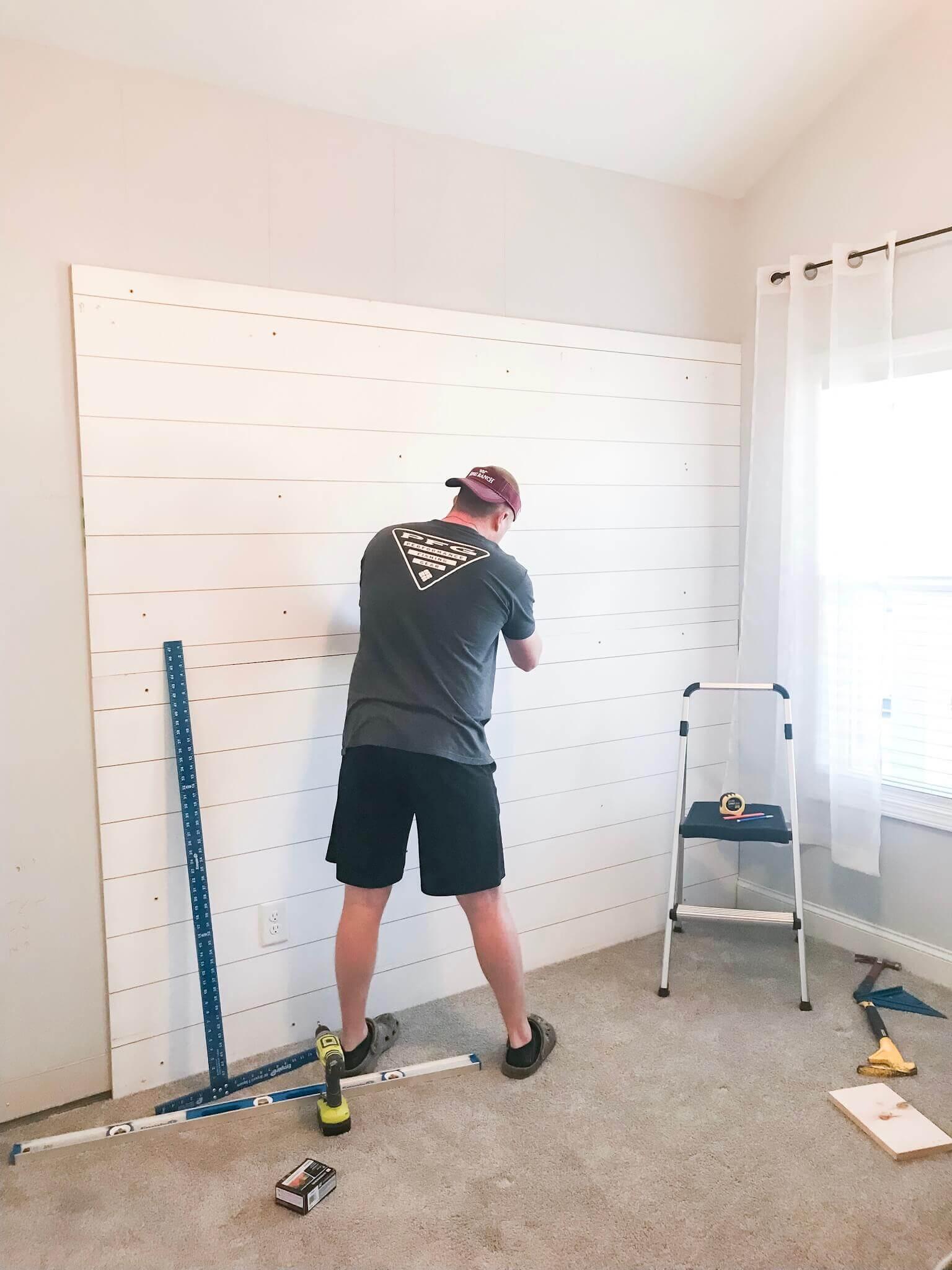 DIY Faux Shiplap Wall / DIY Shiplap Wall Tutorial / A Hosting Home Blog