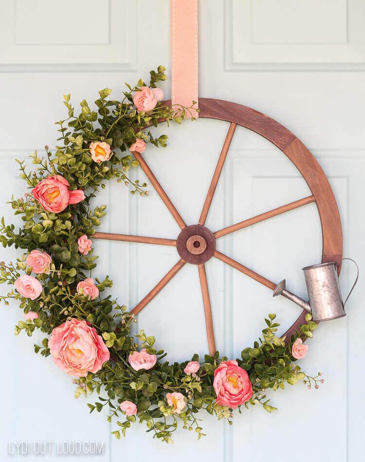 Wagon Wheel Wreath Inspiration For Summer / A Hosting Home Blog