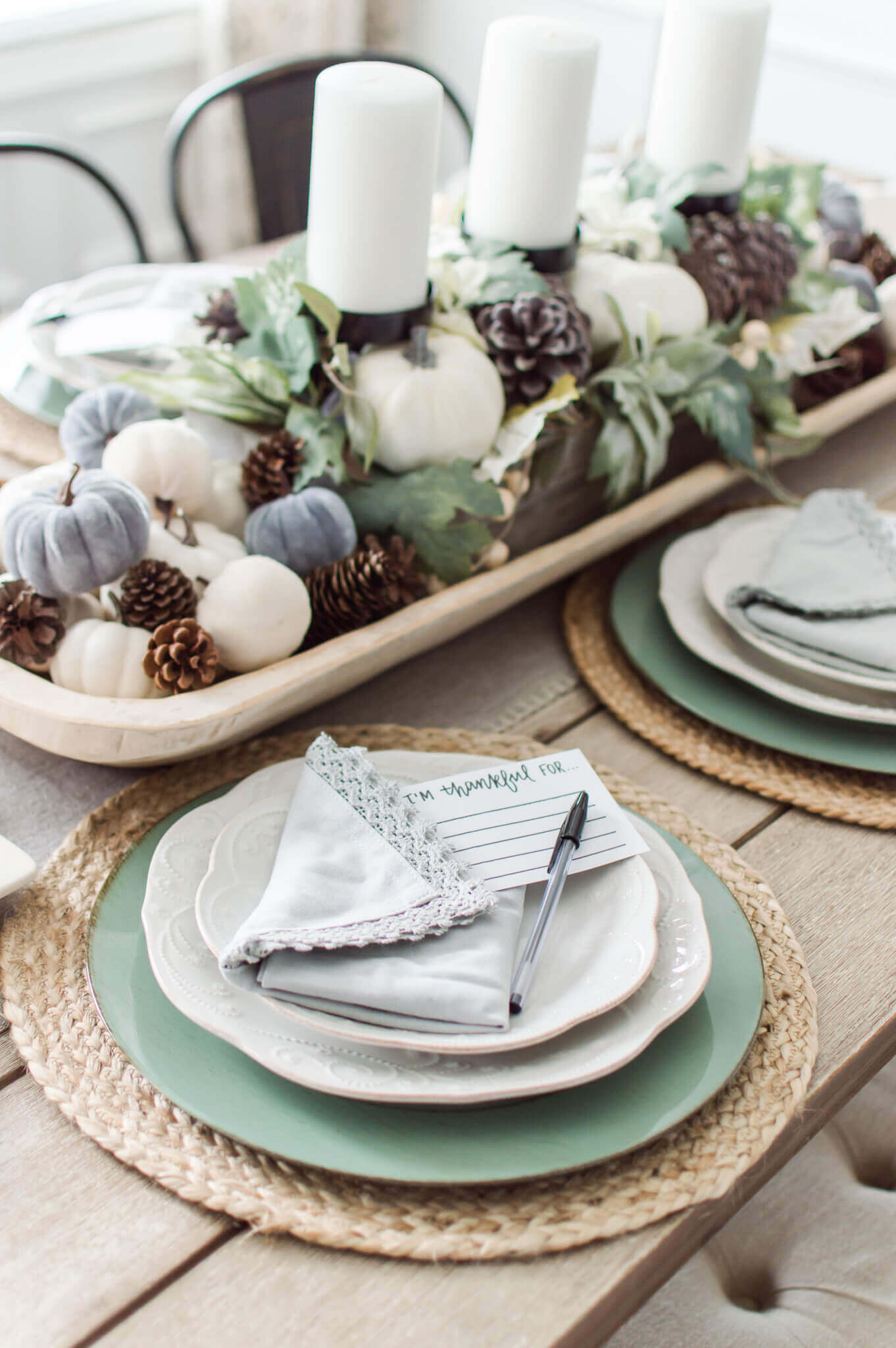 Neutral Fall Pumpkin Tablescape / Pumpkin Dough Bowl Centerpiece / A Hosting Home Blog