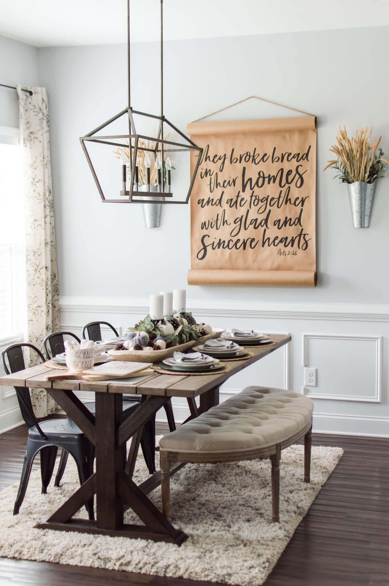 Neutral Fall Pumpkin Tablescape / Pumpkin Dough Bowl Centerpiece / A Hosting Home Blog