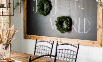 Christmas Chalkboard in the Breakfast Nook / A Hosting Home Blog