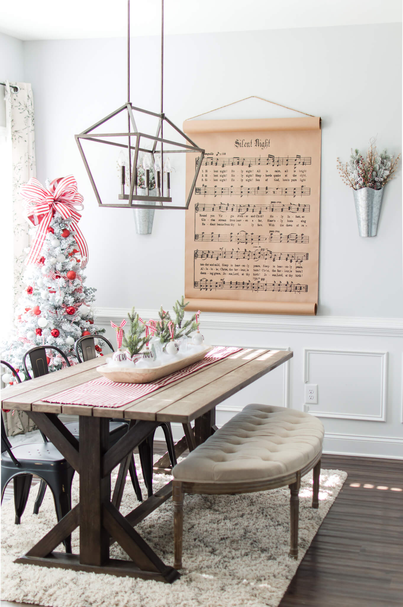 A Peek at our Cozy Red and White Christmas Dining Room / A Hosting Home Blog