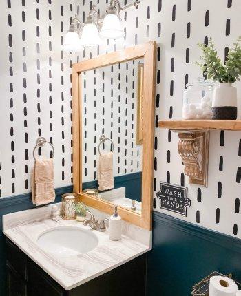 Modern Farmhouse Guest Bathroom Makeover Reveal / A Hosting Home Blog