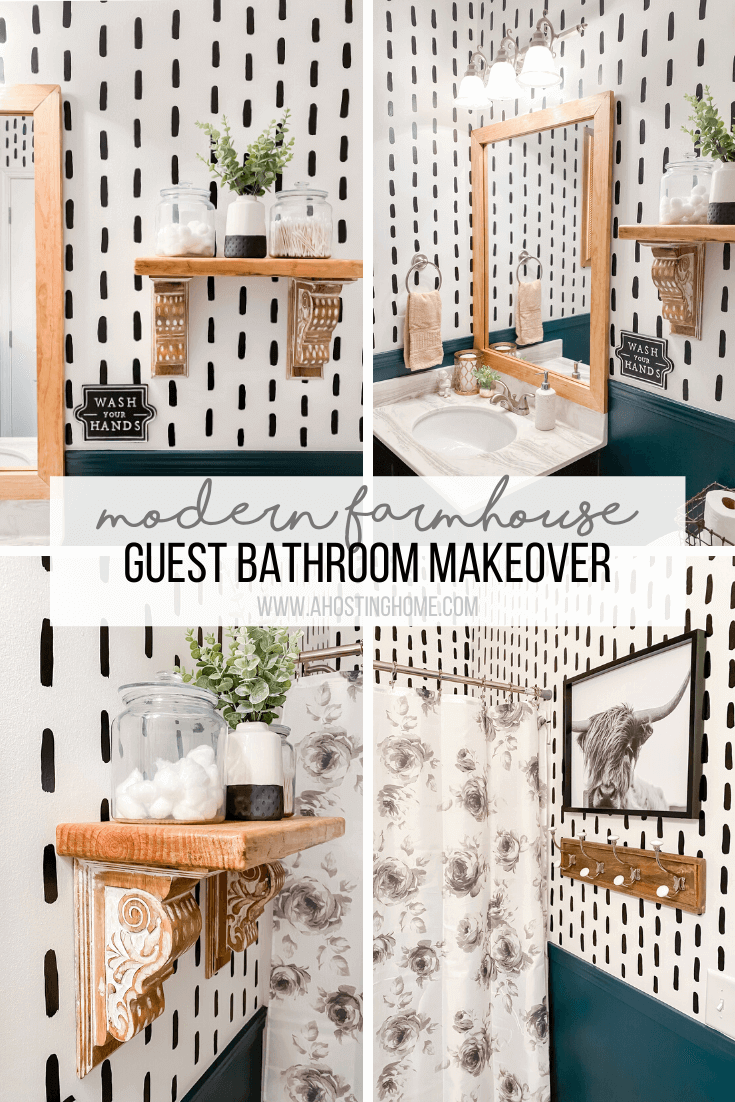 Modern Farmhouse Guest Bathroom Makeover Reveal / A Hosting Home Blog