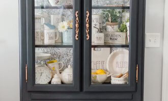 Chalk Paint China Cabinet Makeover with Wallpaper / A Hosting Home Blog